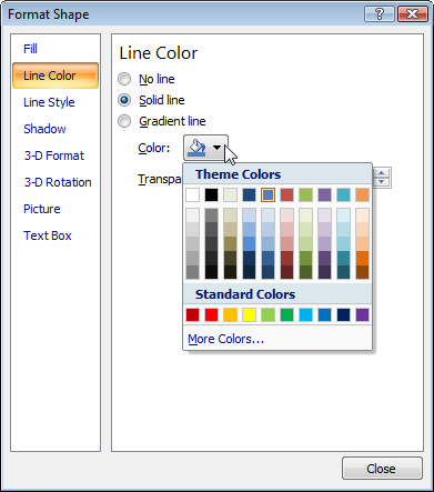 format shape dialog - line color