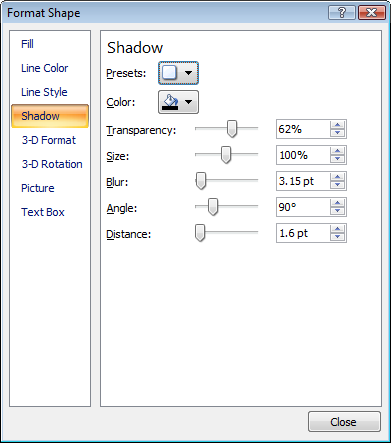 format shape dialog - line shadow
