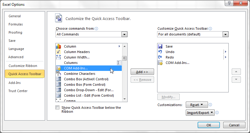 Adding COM Add-ins button to QAT