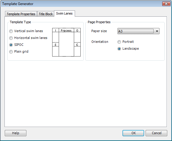 Template Generator Swim Lanes Tab with SIPOC