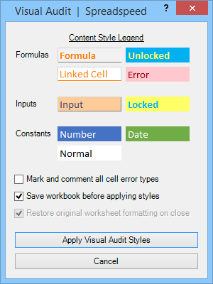 Visual Audit Dialog